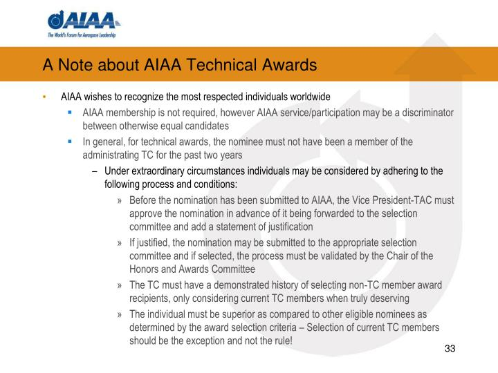 A Note about AIAA Technical Awards