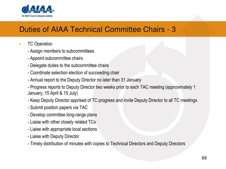 Duties of AIAA Technical Committee Chairs - 3