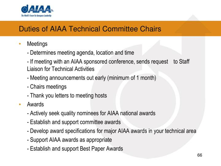 Duties of AIAA Technical Committee Chairs