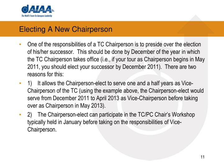 Electing A New Chairperson