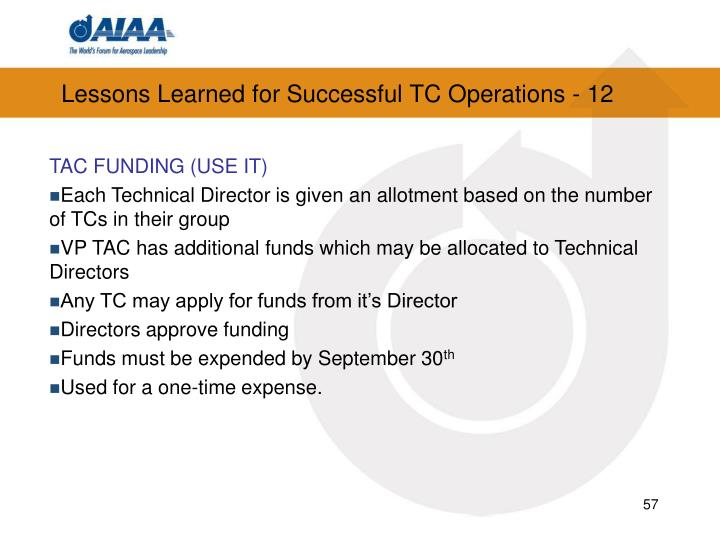 Lessons Learned for Successful TC Operations - 12