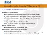lessons learned for successful tc operations 14