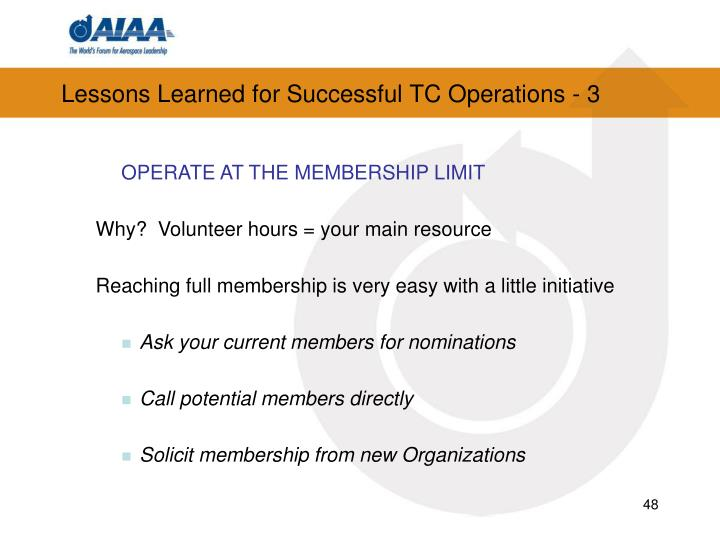 Lessons Learned for Successful TC Operations - 3