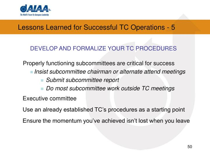 Lessons Learned for Successful TC Operations - 5