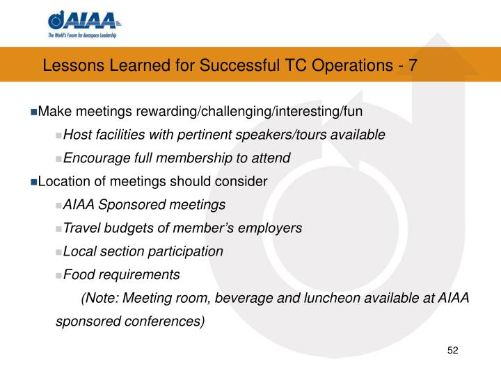 Lessons Learned for Successful TC Operations - 7