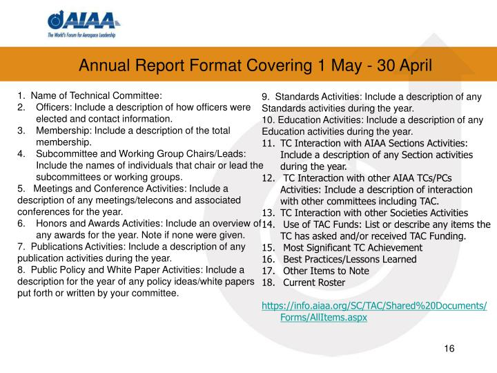 Annual Report Format Covering 1 May - 30 April