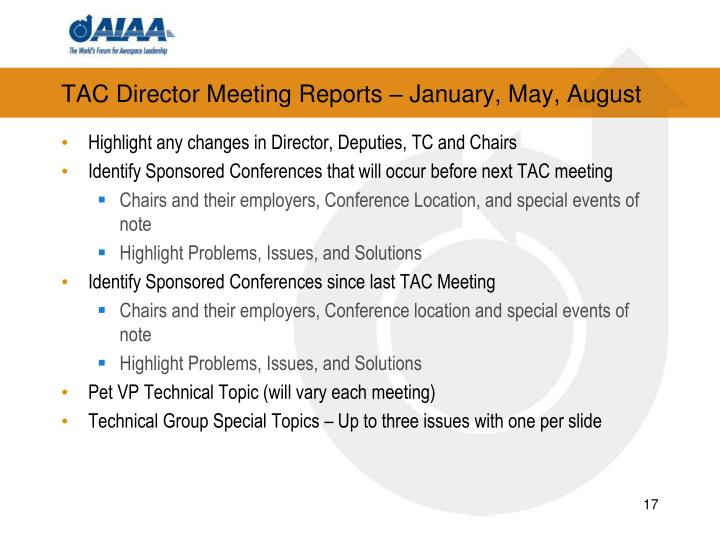 TAC Director Meeting Reports – January, May, August