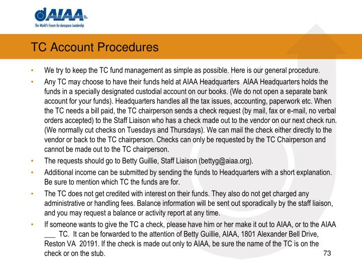 TC Account Procedures