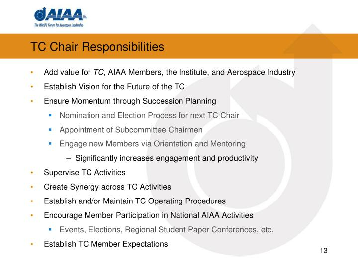 TC Chair Responsibilities