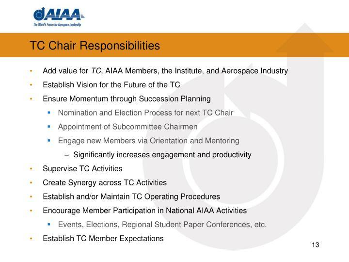 TC Chair Responsibilities