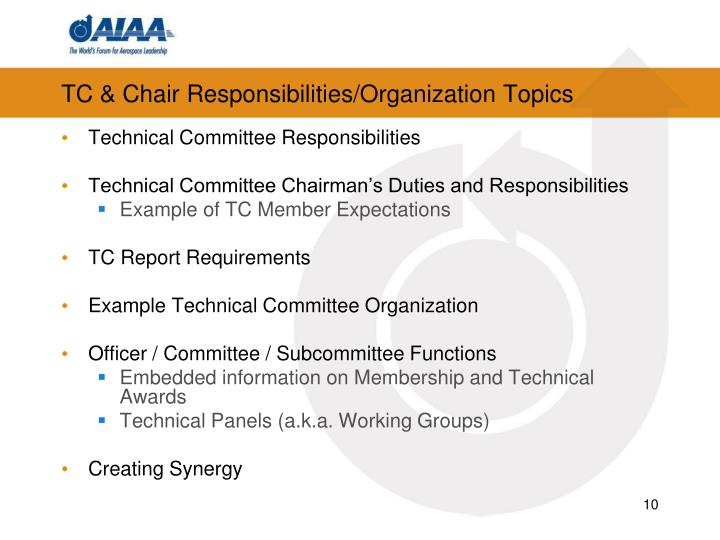 TC & Chair Responsibilities/Organization Topics