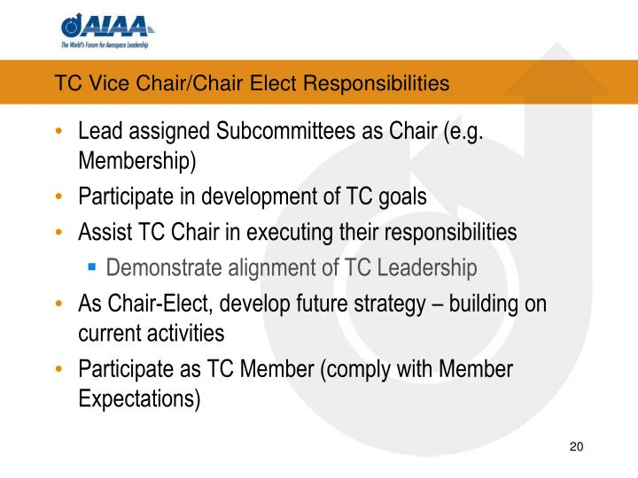 TC Vice Chair/Chair Elect Responsibilities