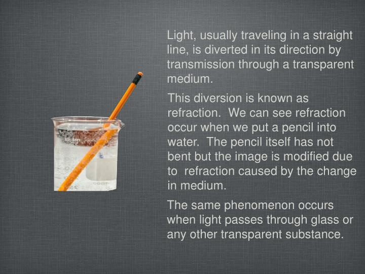 Light, usually traveling in a straight line, is diverted in its direction by transmission through a transparent medium.