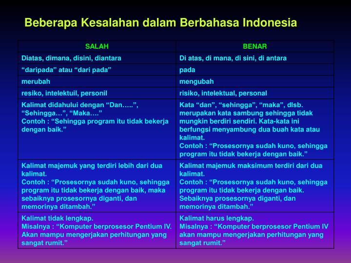 Beberapa Kesalahan dalam Berbahasa Indonesia