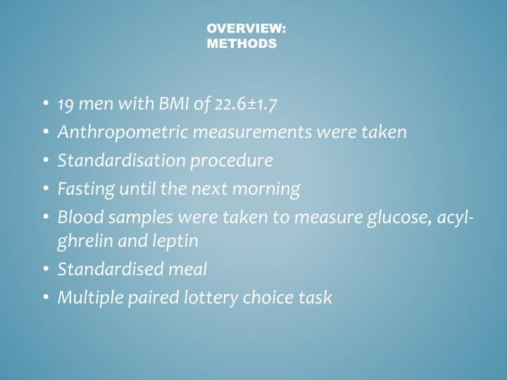 19 men with BMI of 22.6±1.7