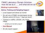 fw e laboratory olympic activities how did we do it and what did we do