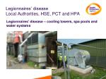 legionnaires disease local authorities hse pct and hpa