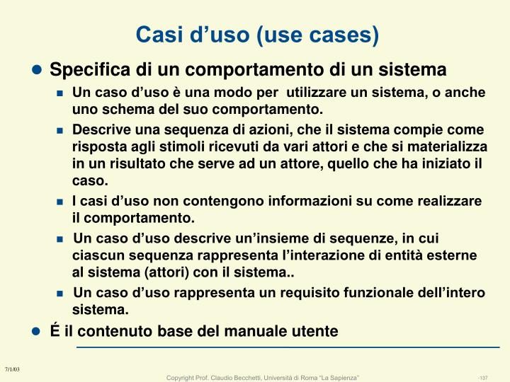 Casi d'uso (use cases)