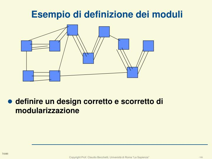 definire un design corretto e scorretto di modularizzazione