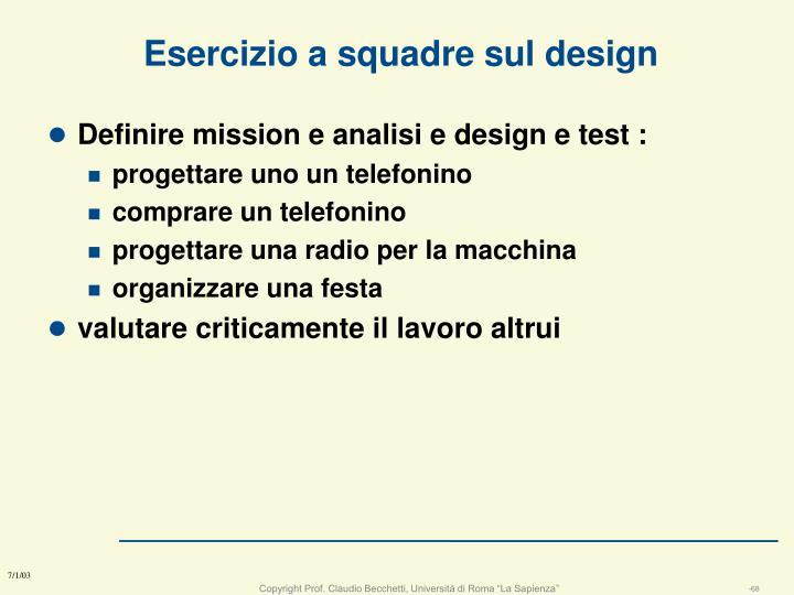 Esercizio a squadre sul design