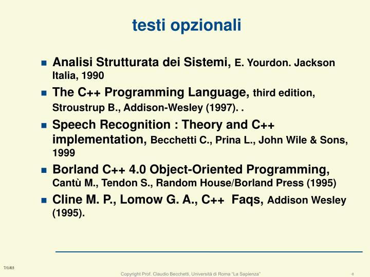 testi opzionali