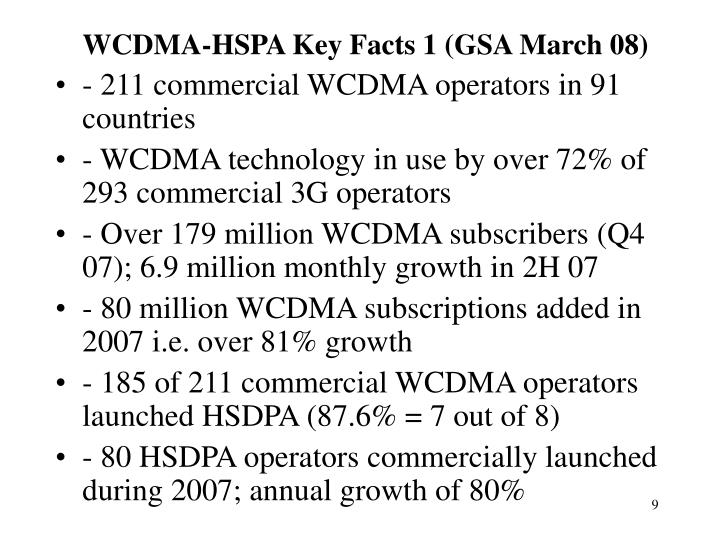 WCDMA-HSPA Key Facts 1 (GSA March 08)
