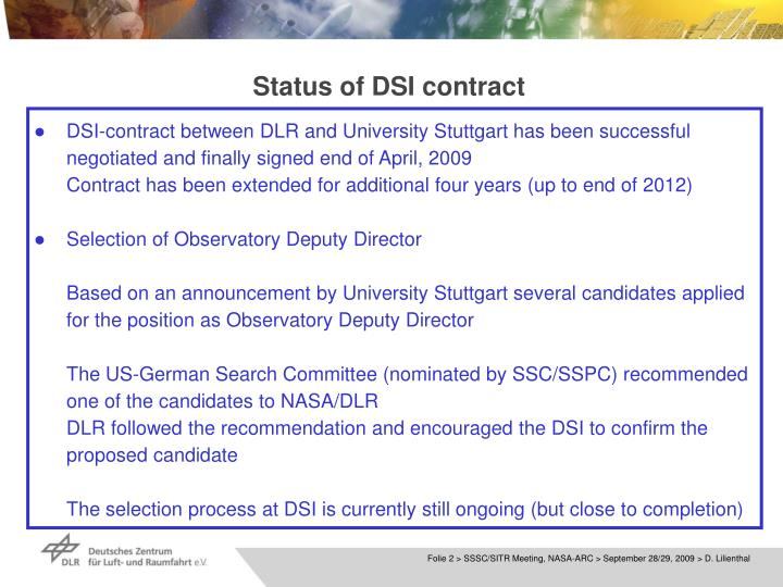 Status of dsi contract