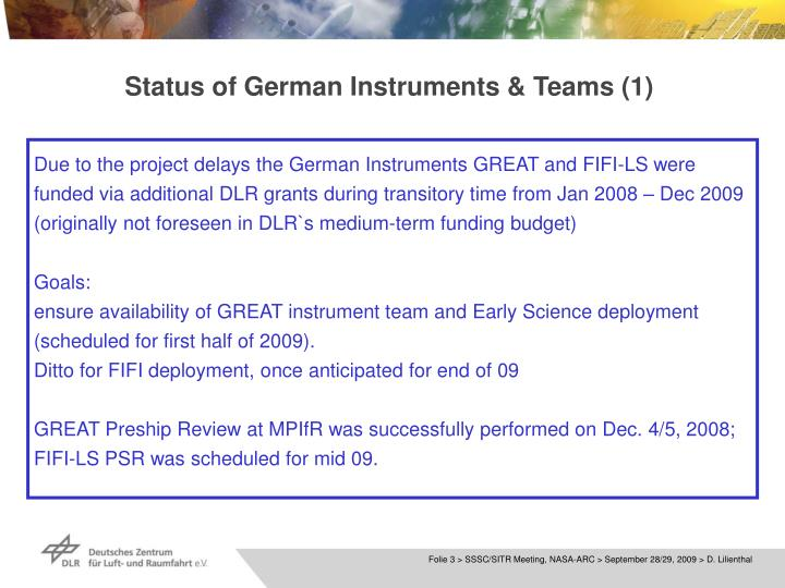 Status of german instruments teams 1