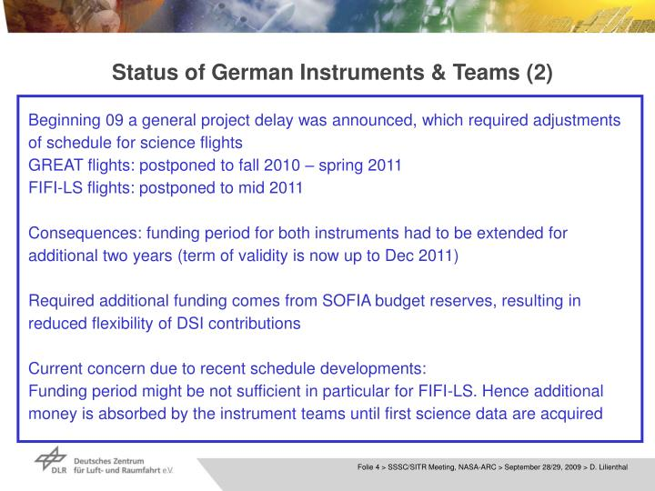 Status of German Instruments & Teams (2)