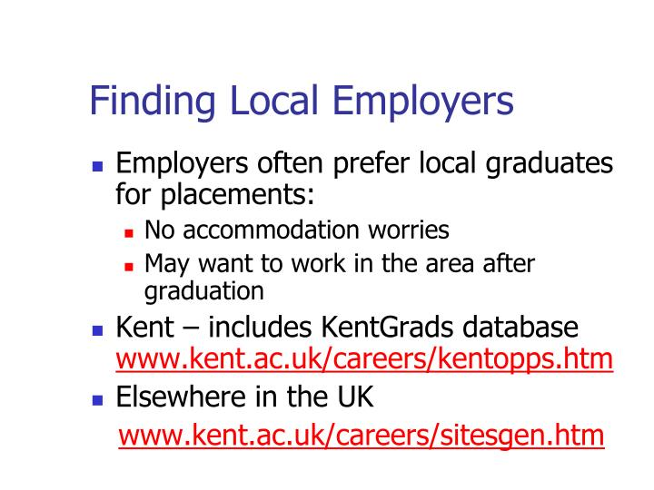 Finding Local Employers