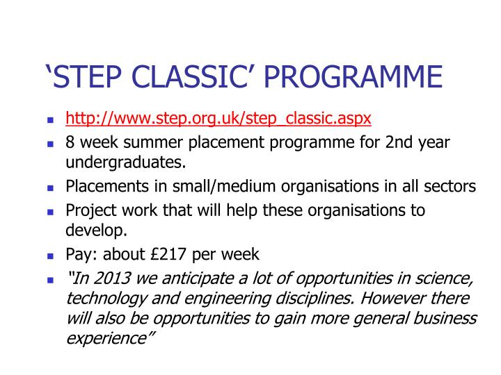 'STEP CLASSIC' PROGRAMME