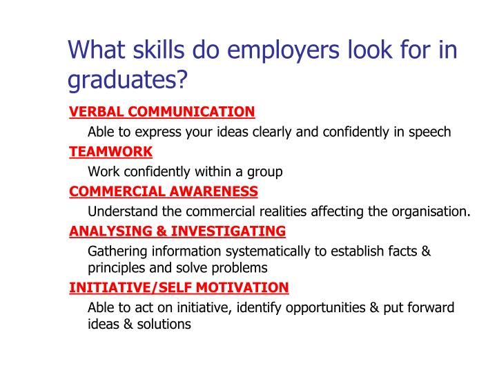 What skills do employers look for in graduates?