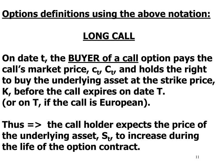 Options definitions using the above notation: