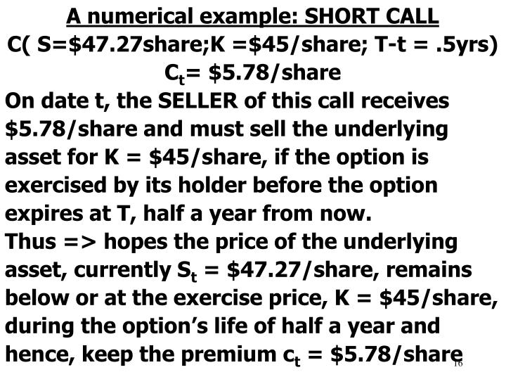 A numerical example: SHORT CALL
