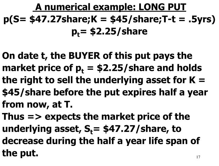 A numerical example: LONG PUT