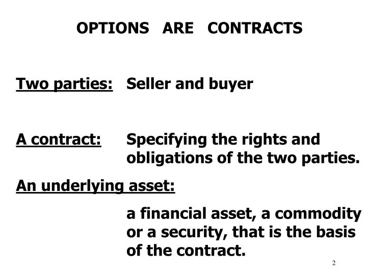 OPTIONS   ARE   CONTRACTS