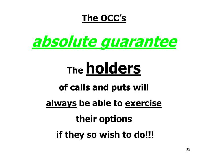 The OCC's