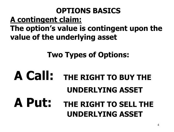 OPTIONS BASICS
