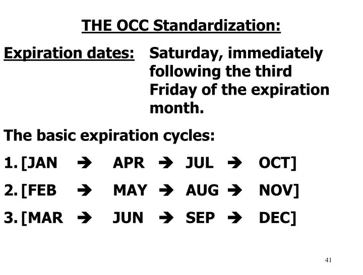 THE OCC Standardization: