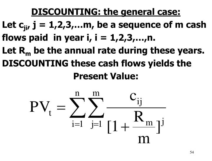 DISCOUNTING: the general case: