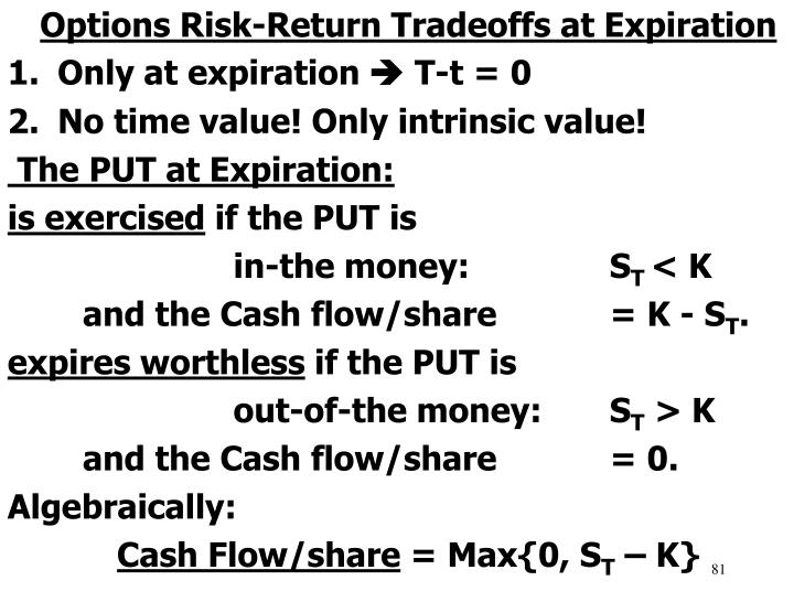 Options Risk-Return Tradeoffs at Expiration