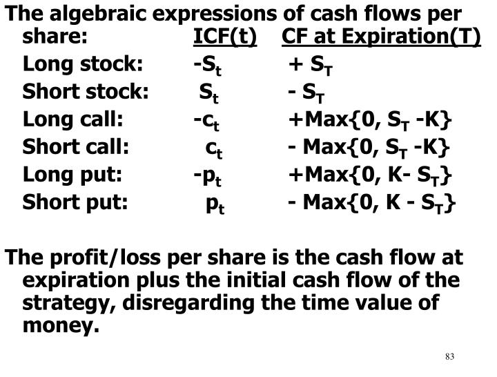 The algebraic expressions of cash flows per share: