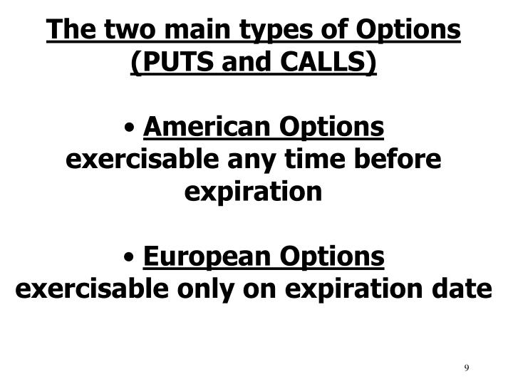 The two main types of Options (PUTS and CALLS)