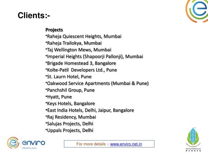 Clients:-