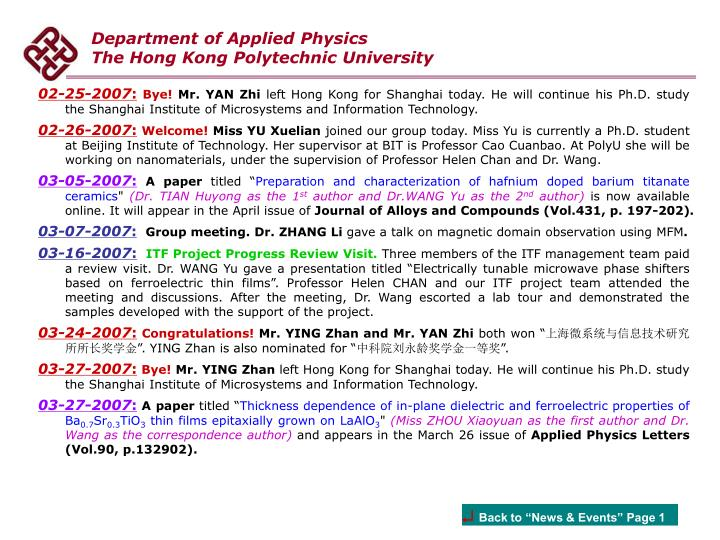 Department of Applied Physics