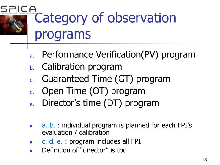 Category of observation programs