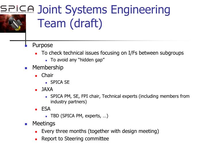 Joint Systems Engineering Team (draft)