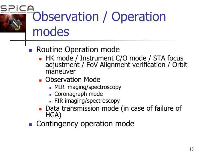 Observation / Operation modes