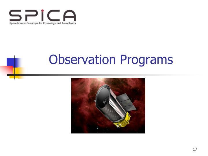 Observation Programs