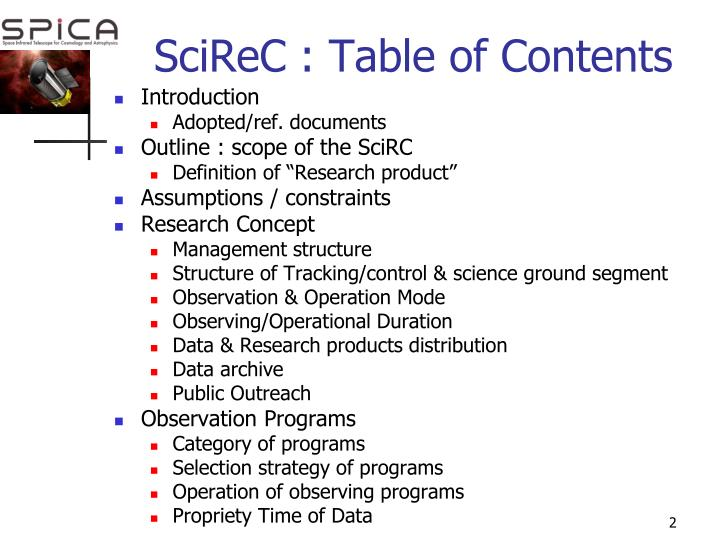 Scirec table of contents
